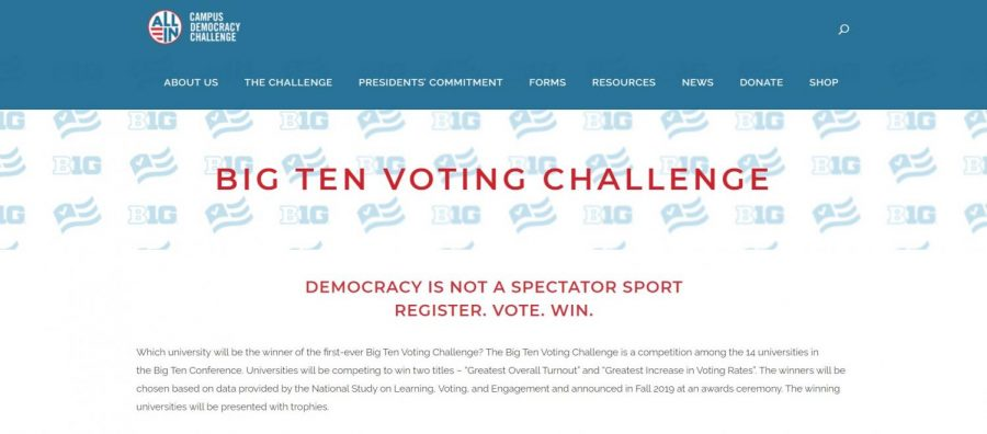 The homepage of the Big Ten Voting Challenge explains the event. Big Ten schools compete against each other to see which college can turn out the most votes and which can achieve the greatest increase in voting rates.