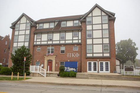 The Pi Kappa Phi fraternity house, located across the street from the SDRP on Gregory Drive, stands tall on Wednesday morning. Pi Kappa Phi was one of the greek organizations recently caught violating COVID-19 policies.