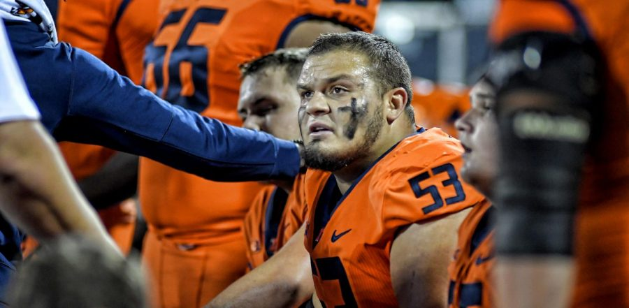 Alum Nick Allegretti listens to coaches during a time out during a game in the 2018-2019 season. Allegretti was drafted by the Kansas City Chiefs and will serve as a backup center.