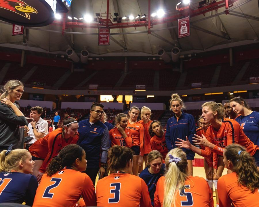 Then junior Megan Cooney speaks to her team during the game against Marquette at Redbird Arena on Sept. 14, 2019 in Normal, IL.