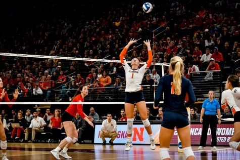 Former Illini Jordyn Poulter sets the ball during the Final Four match against Nebraska on Dec. 13, 2018. Although the Big Ten and Pac-12 conferences were canceled this fall, the NCAA still plans on holding a tournament in the spring comprised of Power-5 conferences.