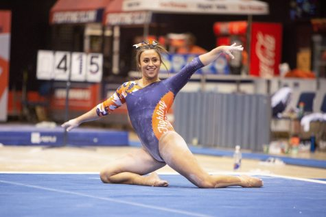 Senior Nicole Biondi competes in the floor routine during the meet against Penn State on Feb. 2 at Huff Hall. The Illinois women's gymnastics team recenly resumed practice after an extended offseason.