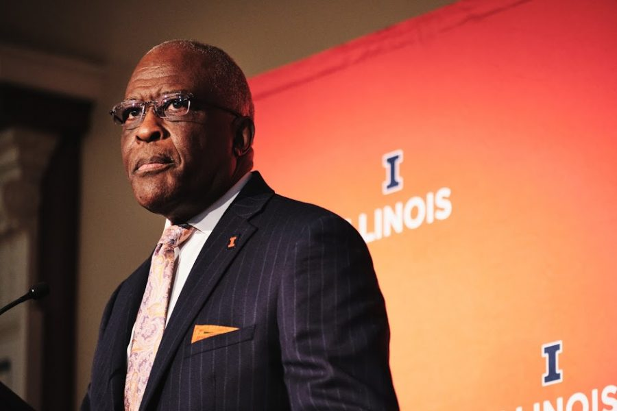 Chancellor Robert Jones prepares to give the State of the University Address at the Illini Ballroom on Jan. 24. Jones attempts to quell the fears of University students by discussing plans for the spring semester.