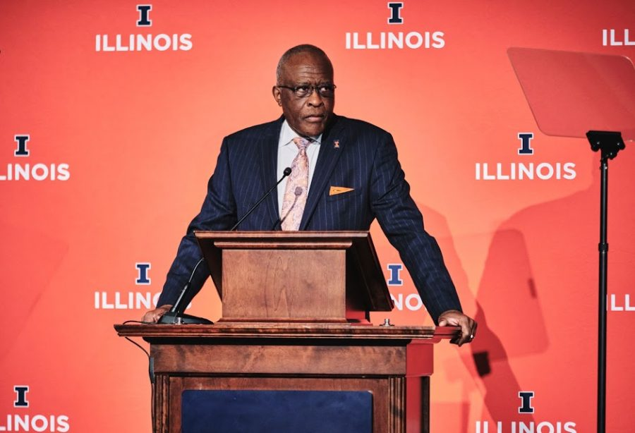 Mark Capapas the daily illini Chancellor Robert Jones prepares to give the State of the University address on Jan. 24 in the Illini Ballroom.