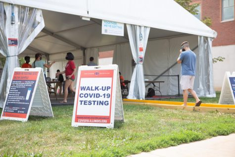 Students enter the University COVID-19 testing site located outside the National Center for Supercomputing Applications  on Aug. 30. Champaign County has conducted over 325,000 tests since the start of the pandemic.