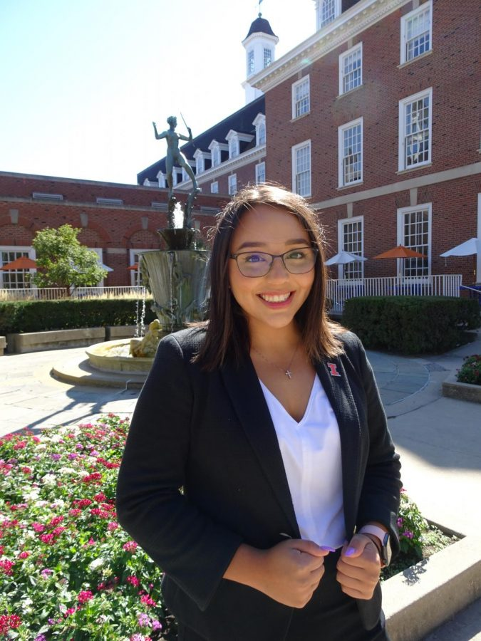 Student Body President Alexis Perezchica poses for a professional headshot outside of the Illini Union. The COVID-19 pandemic has complicated the new president's goals.