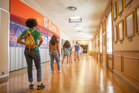 Students wait in line to take COVID-19 tests at the Illini Union on Aug. 23. The University's tesing programs allows thousands of students to test each day and receive their results within 24 to 48 hours.