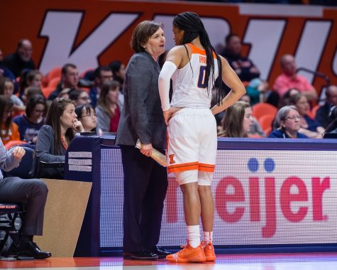 Illinois head coach Nancy Fahey talks to junior guard J-Naya Ephraim during the game against Nebraska at State Farm Center on Jan. 17, 2019. Fahey recently recruited three freshmen to play in the upcoming season.