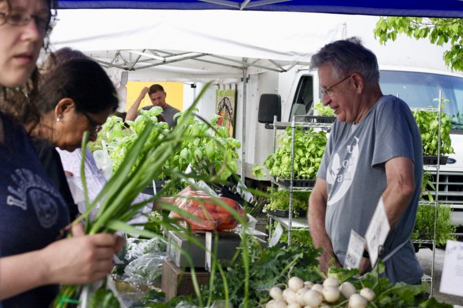 A+customers+browses+for+produce+at+the+Blue+Moon+Farms+stand+on+May+19%2C+2018.+The+Market+at+the+Square+offers+a+variety+of+locally-grown+produce.