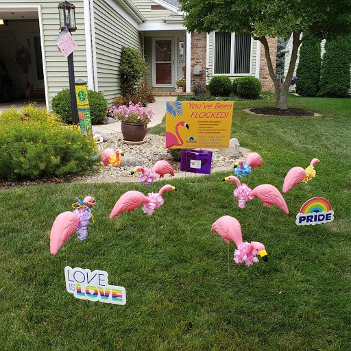 Many plastic flamingos sit in the lawn of a local home. The flamingo flock is a traveling fundraising event the McKinley Foundation is putting on for Pride Month.