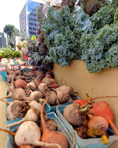 The Land Connection sells assorted root vegetables and kale at the Champaign Farmers Market on May 26. The organization strives to grow the local food economy and increase food accessibility.