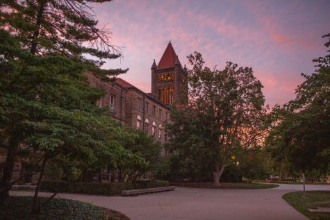 Altgeld Hall stands prominently as the sun sets on Aug. 29.