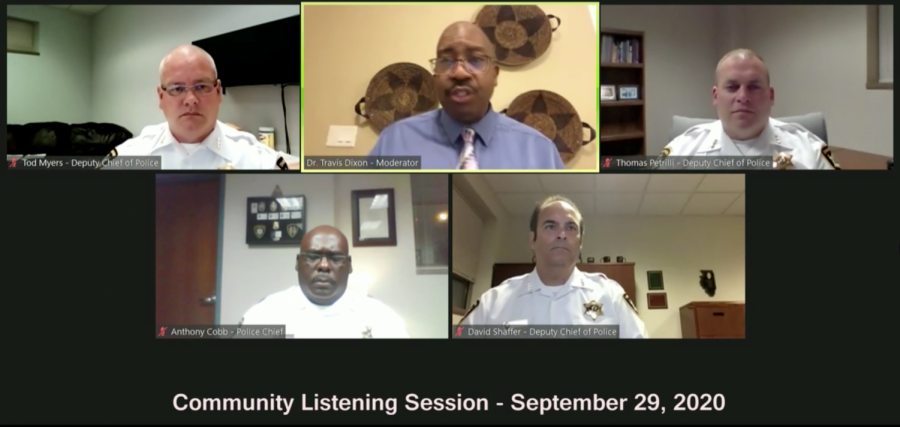 Champaign Police officials gather in a Zoom call for the second community listening session. Dr. Travis Dixon (first row, center), professor in LAS, moderated the session via Zoom on Sept. 29.