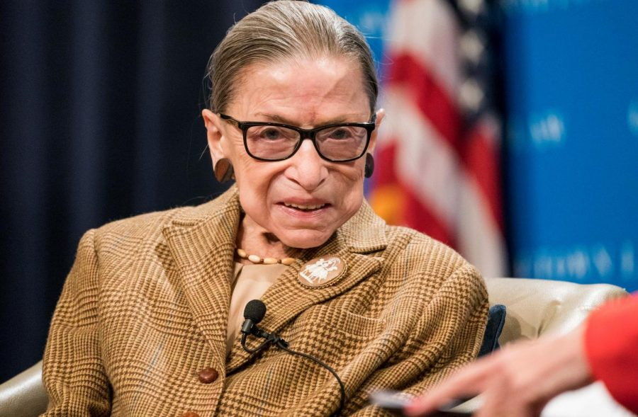 Late U.S. Supreme Court Justice Ruth Bader Ginsburg participates in a discussion at the Georgetown University Law Center on Feb. 10 in Washington, DC.