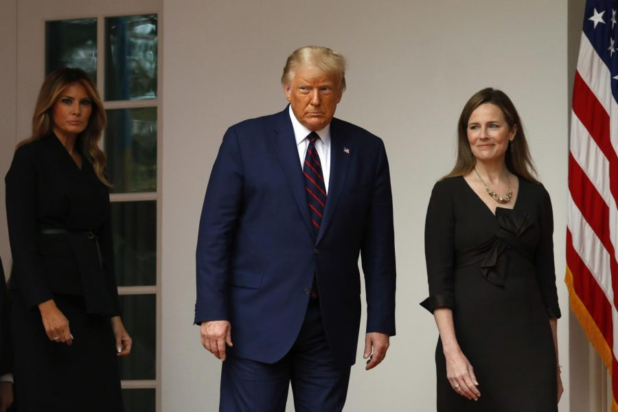 President Donald Trump, along with first lady Melania Trump, arrive to introduce Judge Amy Coney Barrett as his Supreme Court Associate Justice nominee in the Rose Garden of the White House in Washington, D.C., on Saturday,