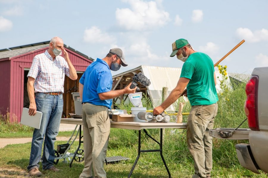 A professor films a video for his online agriculture class at the Student Sustainable Farm on Aug. 25. Both students and professors had to adapt to the changes brought about by COVID-19.