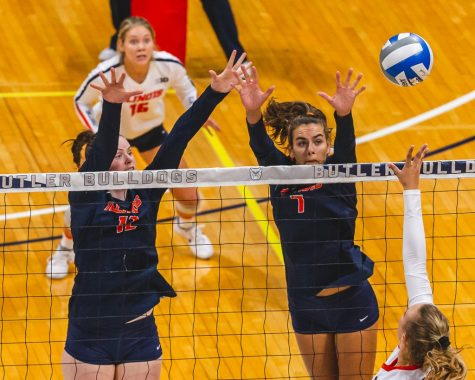 Then seniors Ashlyn Fleming and Jacqueline Quade attempt to block the ball during the game against the Pacific Tigers on Sept. 20, 2019 in Indianapolis, IN.