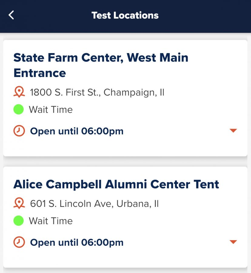 The Safer Illinois app with its new wait time feature. The green circles indicate the testing sites arent crowded.