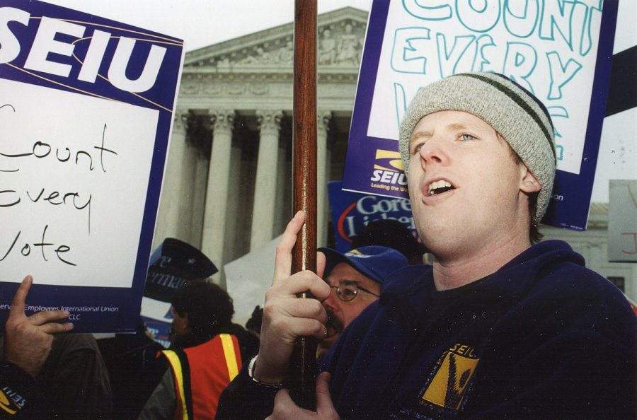 Demonstrators chant outside the Supreme Court Building during the Presidential Election 2000 Disenfranchised Voters Protest on Dec. 11, 2000.