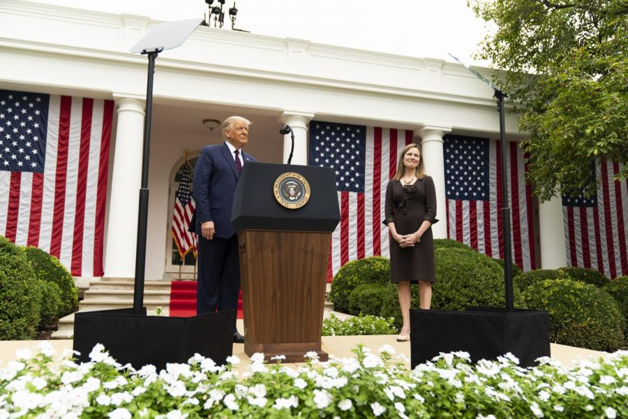 President Donald J. Trump announces Judge Amy Coney Barrett as his nominee for Associate Justice of the Supreme Court  in the Rose Garden of the White House on  Sept. 26, 2020.