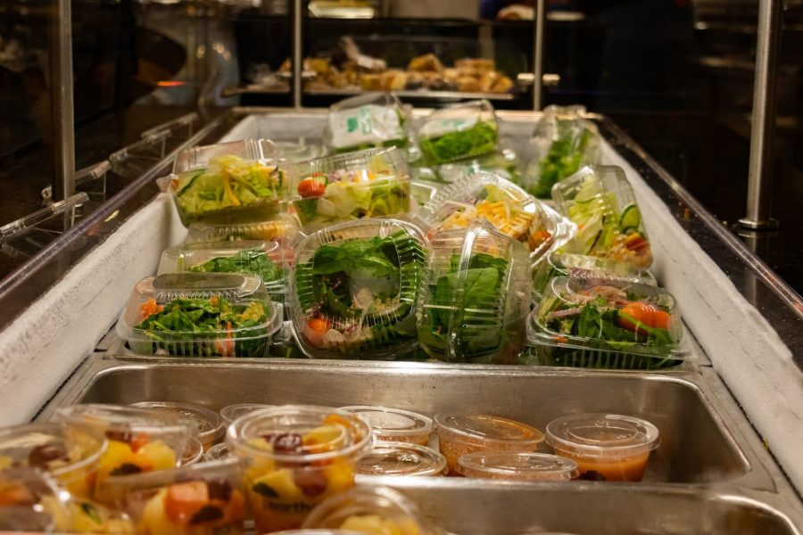 Prepackaged meals wait to be picked up by students at the SDRP on Friday. All dining halls are now offering in-person dining.