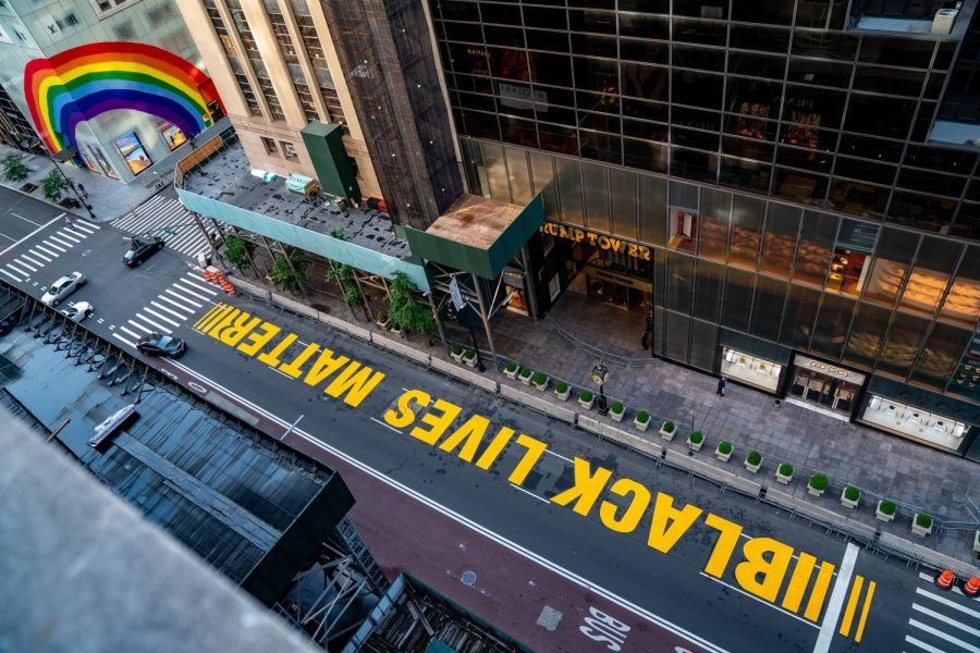 A Black Lives Matter mural that was painted on Fifth Avenue in New York City is seen directly in front of Trump Tower on July 13.