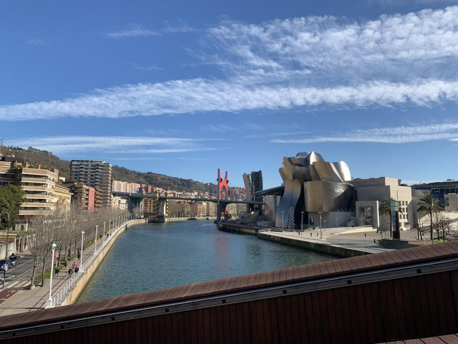 The Estuary of Bilbao flows through Bilbao, Spain in the spring. Spain is a popular study abroad destination for Illinois students.