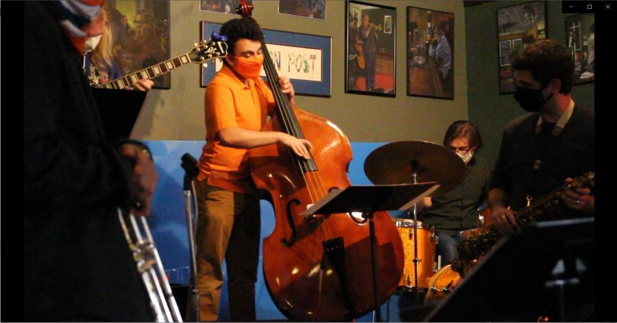 Members of Tito Carrillo's jazz ensemble perform at the Iron Post on Oct. 20. The student musicians played for a live, indoor audience, while engineering students and faculty tracked the carbon dioxide and particles they released.
