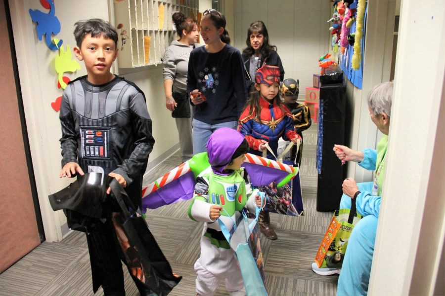 Children and their parents arrive at the Alamogordo Police Department building to participate in its second annual Haunted House. A recent Massmail has instructed students to celebrate Halloween responsibly this year.