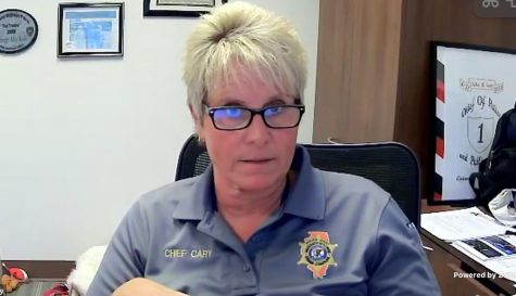 Pictured is University of Illinois Police Department Police Chief Alice Cary in a Zoom call on Oct. 12. During the call, Cary discussed a potential community outreach and support team as well as the behavioral health unit she plans on implementing.