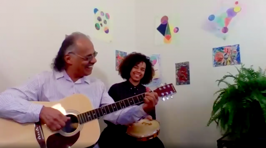"Sr. Wilson Roca and his daughter perform Brazilian & Afro-Brazilian folkloric music and popular music during the May 6 installment of ""Sounds Like Community."" The Zoom series aims to foster a sense of community amidst the pandemic."