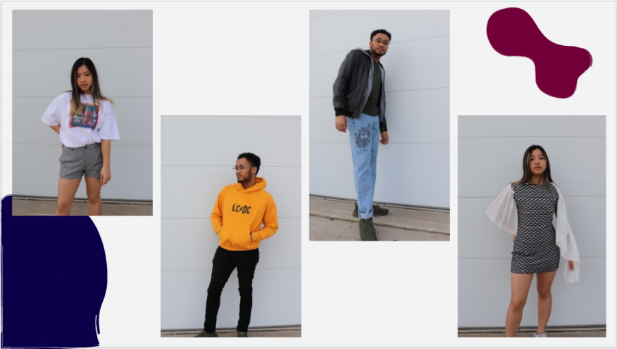 Members of Phoenix, an awareness-based clothing brand, model various outfits they've created. The project was started in Fall 2019 by two Illinois students.