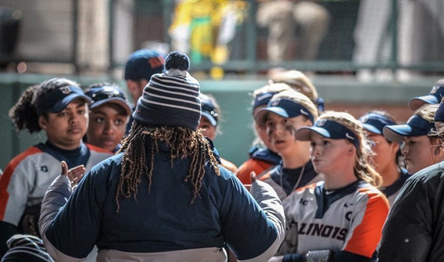 Illinois head coach Tyra Perry speaks to her team during the game against Baylor on Feb. 21. Perry is pleased all of her starters are returning from last year.