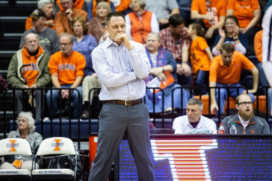 Volleyball+head+coach+Chris+Tamas+watches+from+the+sidelines+during+the+game+against+Penn+State+on+Nov.+15.+Tamas+remains+optimistic+about+the+extended+offseason+and+the+opportunity+for+new+player+improvement.