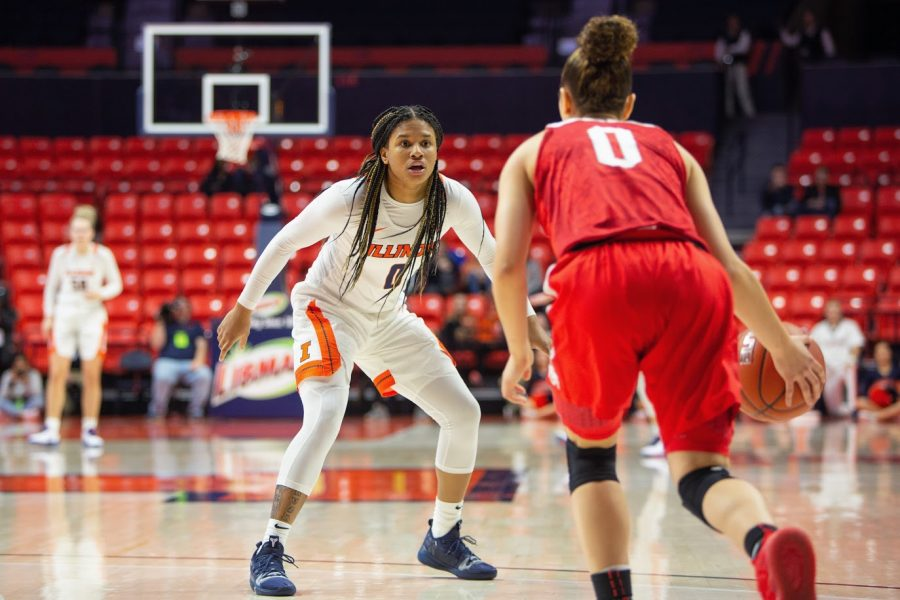 Junior J-Naya Ephraim waits as an opposing player approaches with the ball during the game against Ohio State on Feb. 6. The Illini lost six players the previous season, forcing head coach Nancy Fahey to fill those gaps.