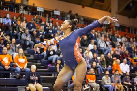 Sophomore Mia Townes competes in the floor routine event during the meet against Penn State on Feb. 7. After five surgeries in 2019, Townes is expected to return as a leader.