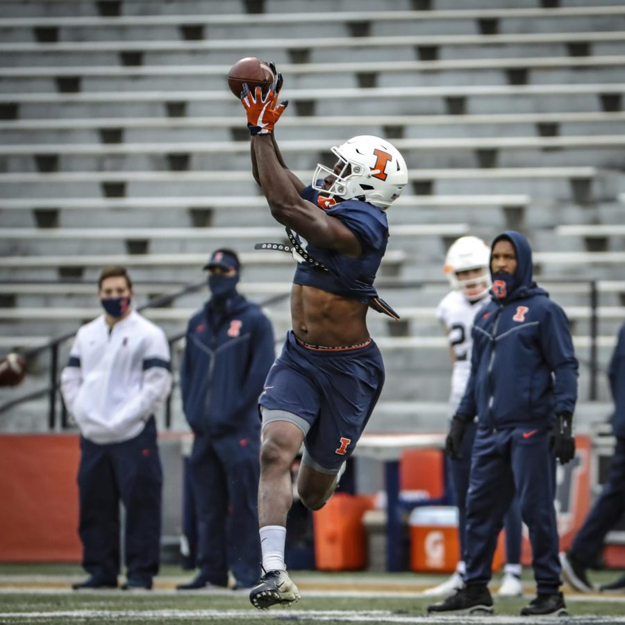Senior wide receiver Josh Imatorbhebhe catches a pass during practice on Thursday. This fall, Josh will continue his leadership role, and this time he gets to play alongside his older brother Daniel.