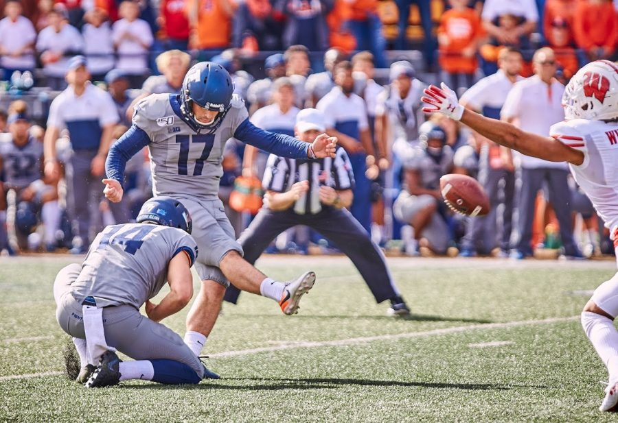 Illinois senior kicker James McCourt kicks the game winning field goal during the game against Wisconsin on Oct. 19 at Memorial Stadium. McCourt will return to the Illini in 2021.
