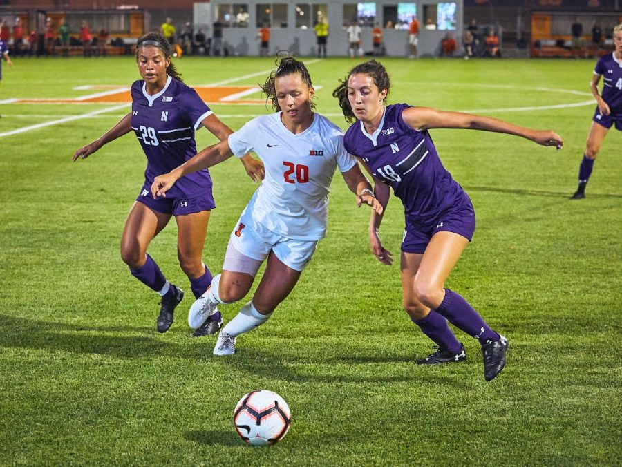 Junior Makena Silber battles for control of the ball during the game against Northwestern on Sept. 20, 2019. Illinois won the game 3-1.