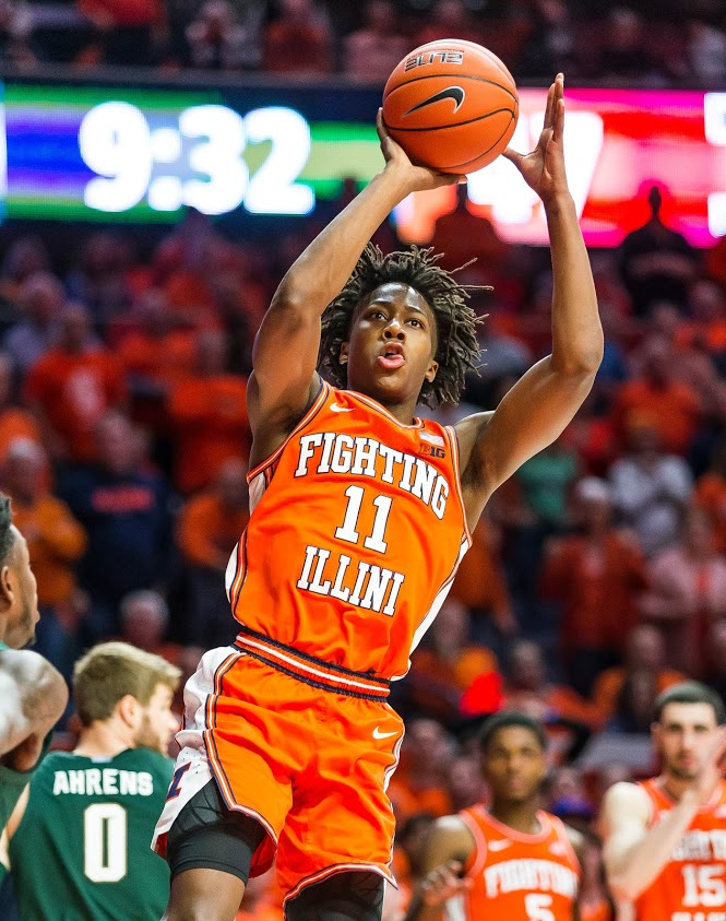 Sophomore+Ayo+Dosunmu+shoots+the+ball+during+the+game+against+Michigan+State+on+Feb.+11.