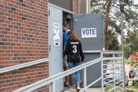 Voters enter the early voting location located in the ARC on Friday. Students share their views on the importance of the 2020 Presidential Election.
