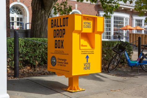 A Champaign County ballot drop box sits outside the Illini Union on Oct. 4. The amount of mail-in ballots sent in this election due to COVID-19 may cause delays in election results.