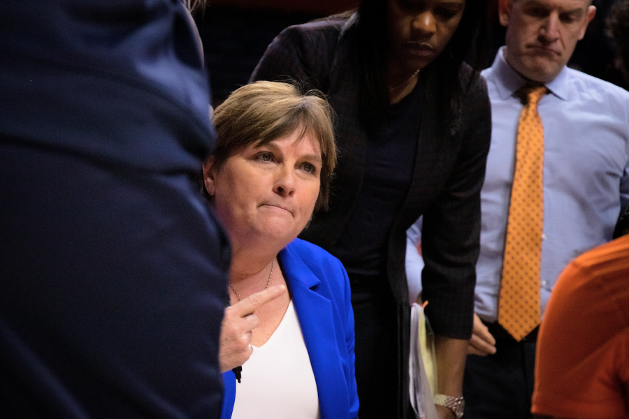 Coach Claire Fahey speaks to her team during a time out at the game against Michigan State on Feb. 26 at State Farm Center.