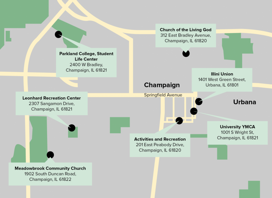 A map of new early voting locations on campus.
