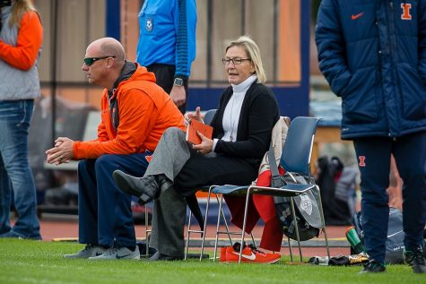 Illinois head coach Janet Rayfield shouts directions at her team from the sideline during the game against Indiana at the Illinois Soccer Stadium on Oct. 14, 2018. The Illini won 1-0 in double overtime.