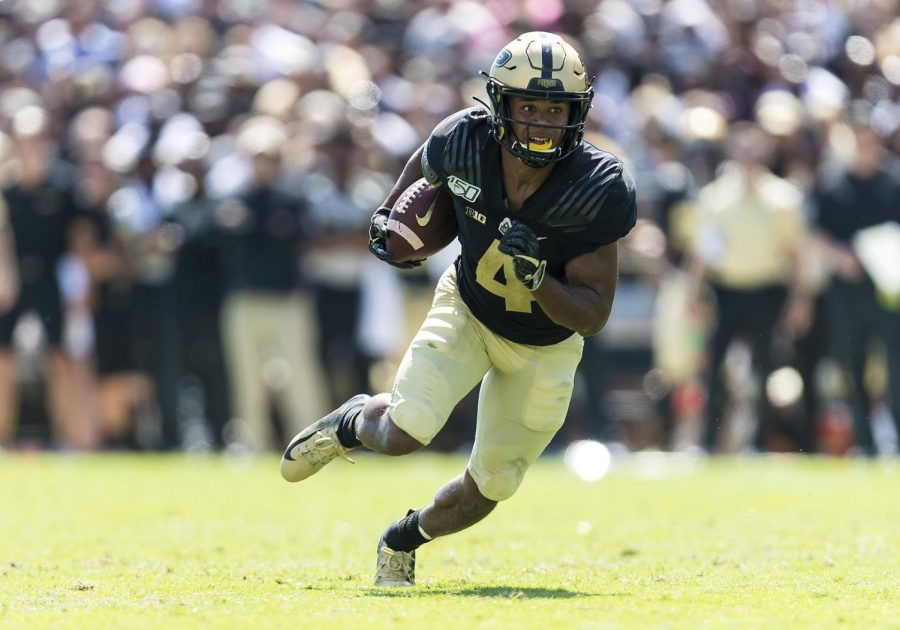 Purdue wide receiver Rondale Moore runs with the ball after the catch during the game against Vanderbilt on Sept. 7, 2019 at Ross-Ade Stadium in West Lafayette, Indiana. Moore finished the year with 1,471 yards and 14 touchdowns.