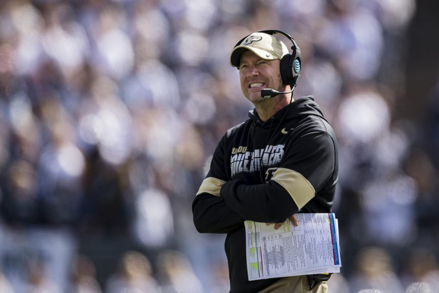 Purdue head coach Jeff Brohm looks on during a game against Penn State at Beaver Stadium in State College, Pennsylvania, on Oct. 5, 2019.