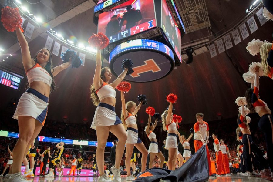 The+Illinois+cheer+team+performs+at+the+basketball+game+against+Iowa+on+March+3.