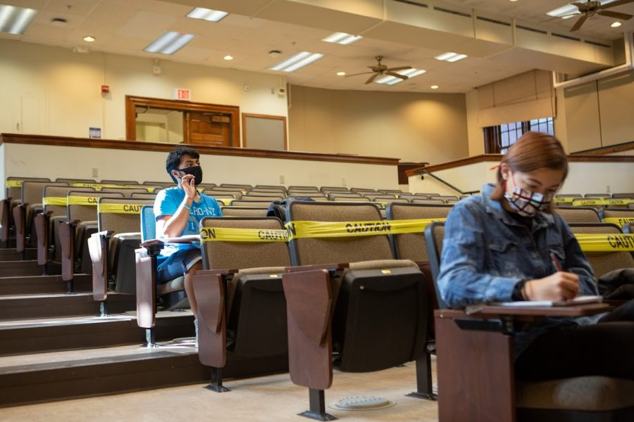 A student in Peter Abbamonte's class responds to a question on Monday. Columnist Marykate gives tips on how to avoid burnout this semester.