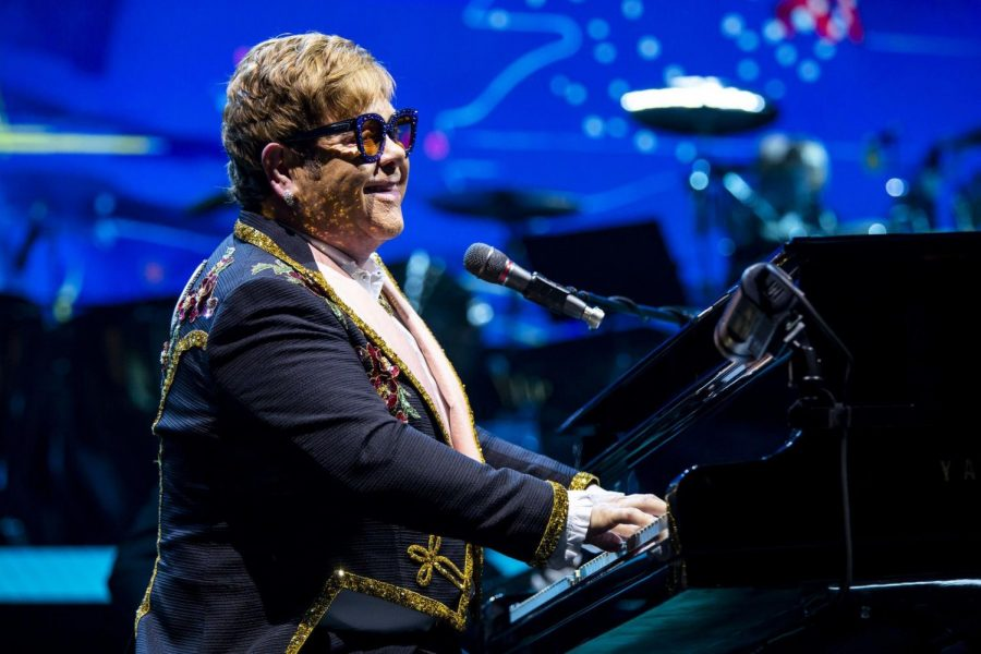 Elton John smiles out at the crowd while performing Bennie And The Jets during his Farewell Yellow Brick Road tour at Amway Center on March 18, 2019. John recently released his newest album, Jewel Box, on Friday.